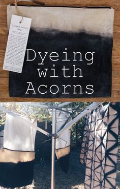 Learn how to dye cotton with a natural, foraged acorn dye. Color ranges from blue-grey to purple-black. Shibori, Fabric Painting, Fabric Art, Fabric Crafts, Sewing Crafts, Natural Dye Fabric, Natural Dyeing, How To Dye Fabric, Dyeing Fabric