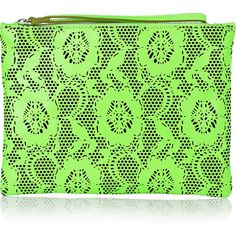 Christopher Kane Laser-cut leather clutch (7,115 MXN) ❤ liked on Polyvore featuring bags, handbags, clutches, christopher kane, green, neon, women, green purse, floral handbags and leather purses