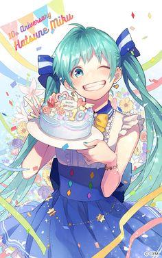 Anniversary Hatsune Miku by mogelatte / - モゲラッタ Chica Gato Neko Anime, Anime Chibi, Kawaii Anime, Manga Anime, Anime Girl Drawings, Anime Art Girl, Manga Girl, Anime Girls, Anime Summer