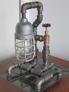 Desk lamp made of plumbing pipes!