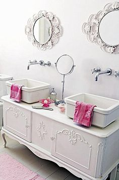 Double vanity using French buffet, ultra feminine, wonder if hubby would put up with it!