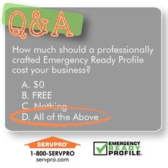 The SERVPRO Emergency Ready Profile is a free service we provide.  To craft an ERP for your business give us a call today at 336-843-4191