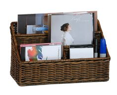 Make an office in a basket!  Keeps bills and important papers in one place.  This Large Organizer Basket in Antique Walnut Brown is perfect from the Basketlady.com.  Or use one of your old baskets.  Insert little muffin tins for push-pins, stamps, paperclips, stapler remover, etc.