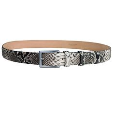 Ceinture femme homme en cuir python, blanc. Brucle Made in Italy Ceinture  Homme, a012f4a902c
