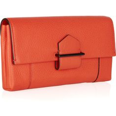 Reed Krakoff Standard leather envelope clutch ❤ liked on Polyvore featuring bags, handbags, clutches, orange leather purse, orange clutches, red handbags, orange handbags and leather purses