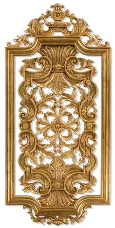 Hand carved solid wood and gilded wall panel