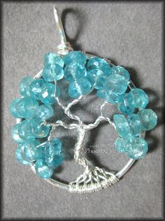 Tree of Life Pendant in Blue Apatite Gemstone and Sterling Silver Wire Caribbean Blue March December Birthday