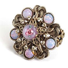 @Overstock.com - Sweet Romance Bohemian Art Glass Faux Pearl Ring - Bohemian glass cabochon ringBurnished bronze jewelryClick here for ring sizing guide  http://www.overstock.com/Jewelry-Watches/Sweet-Romance-Bohemian-Art-Glass-Faux-Pearl-Ring/4747095/product.html?CID=214117 $32.99