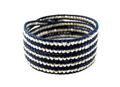 Chan Luu sterling silver wrap bracelet on deep navy leather $215  #jewelry #jewellry #gifts #fall