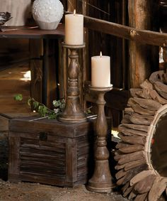 Another great find on #zulily! Carved Mango Wood Candle Holder - Set of Two #zulilyfinds