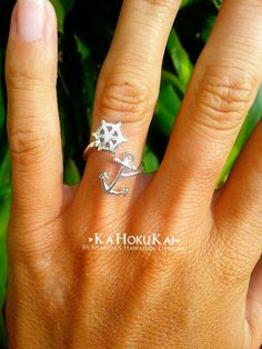 Anchor Helm Wrap Around Ring, Sterling Silver Anchor Ring