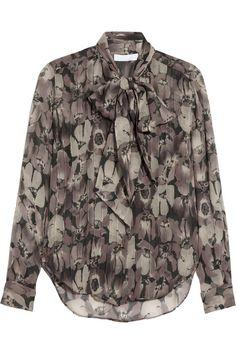Nicole Farhi Winter Poppy crinkled silk-chiffon blouse