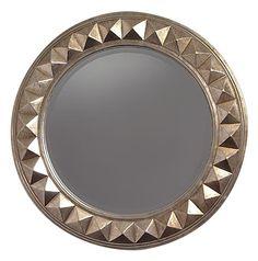 "Fifth Avenue Round Pyramid Trim 32"" Wide Wall Mirror | LampsPlus.com"