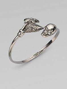 Alexander McQueen Swarovski Crystal Accented Skull & Claw Bangle Bracelet