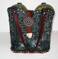 Vintage leather cowboy boot purse created by StageCoach Bags.