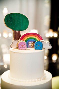 Rainbow fun wedding cake topper