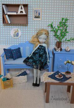 Handmade Diorama BLUE ROOM  for 30 cm dolls by AlailaDoll