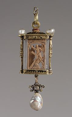 Pendant, 16th century  Probably Mexico  Crystal, enamel, gold, pearls, boxwood. The tiny boxwood carvings depict, on one side, Christ bearing the cross and, on the reverse, the Agony in the Garden, an angel appearing with the cross.
