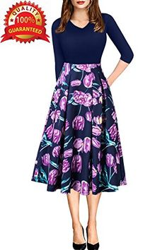 New ECOLIVZIT Women Vintage Casual Swing 3/4 Sleeve Patchwork Floral Midi Dress With Pockets For Working Party online. Enjoy the absolute best in Aro Lora Dresses from top store. Sku pyct69040qzot80661