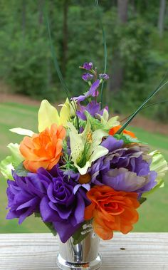 Wedding Flower Bridal Bouquet Centerpieces Vase incl Green Orange Purple More | eBay