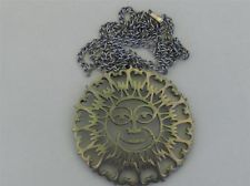 VINTAGE REED AND BARTON PEWTER SUN MOON OPEN WORK ASTROLOGICAL NECKLACE