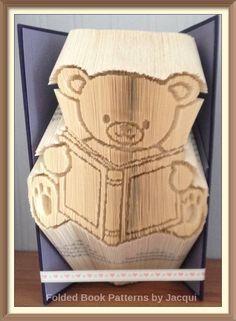Book Bear Cut and Fold Book Folding Pattern by JHBookFoldPatterns on Etsy