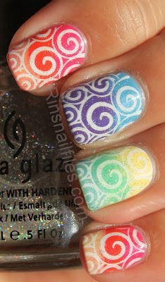 Skittle Gradient with Stamping nail art