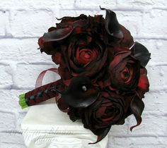 Wedding Bouquet Real touch deep red black by BrideinBloomWeddings