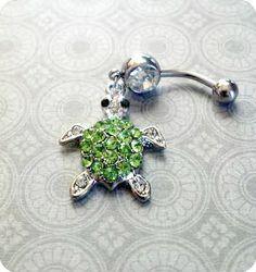 Green Rhinestone Sea Turtle Belly Button Ring
