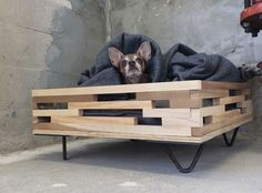 Custom Made Elevated Hairpin Leg Dog Bed