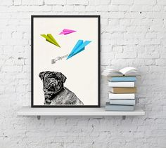 Funny pet print Pug Dog print  Vintage style Pet by PRRINT on Etsy