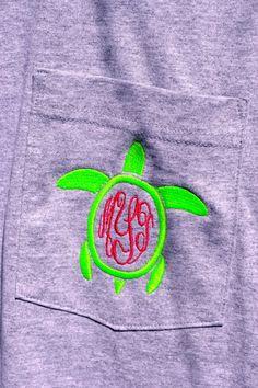 Turtle MONOGRAMMED Pocket Tee - Short Sleeve - Sorority Gift - Bridesmaid Gift on Etsy, $22.99