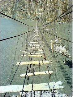 Passu - Hussaini Suspension Bridges by spearhawk, Northern Areas, Paquistan.