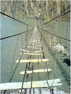 Passu - Hussaini Suspension Bridges by spearhawk, Northern Areas, Paquistan.