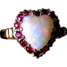 Vintage 50s 14K Opal HEART Ruby Ring 8