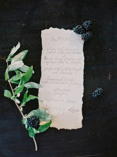 Calligraphy menu with blackberries