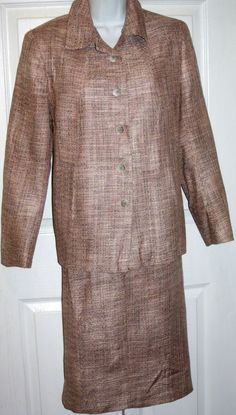 ANN FREEDBERG size 8 pale pink and tan  skirt suit blazer lined new without tags #AnnFreedburg #Blazerandskirtsuit