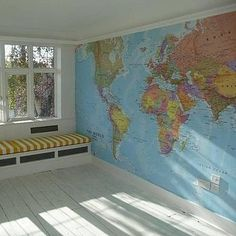 world map mural on one playroom wall (blue oceans!) | kids stuff | Pinterest