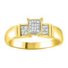 Natural Diamond Yellow Gold Over Sterling Ring Sizes (5-10) MSRP New $1200