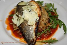 Pan roasted sea bass on a bed of Cornish crab hash, and a fondue of artichoke and tomato. Sheer heaven. PJs in London's Covent Garden!