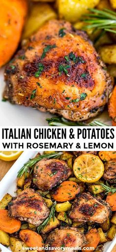 Italian Chicken and Potatoes combines two classic dinner pieces together to make the perfect homemade family meal. Italian Chicken and Potatoes combines two classic dinner pieces together to make the perfect homemade family meal. Italian Chicken Recipes, Italian Dinner Recipes, Healthy Chicken Recipes, Easy Dinner Recipes, Easy Meals, Italian Meals, Chicken Recipes For Dinner, Chicken Pieces Recipes, Italian Chicken Breast