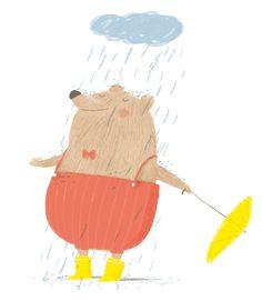 Urso na chuva