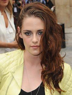 Dark brown curls of Kristen Stewart