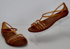 Crocs Isabella Iconic Comfort Women's Size 8 Gold Strappy Sandals #Crocs #Strappy #Casual