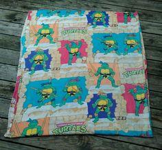 Vintage TMNT Full Flat Sheet Teenage Mutant Ninja Turtles Retro 80s Fabric