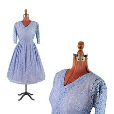 Vintage 1950's Pale Blue Sheer Floral Lace Full A-line Skirt Party Prom Wedding Cocktail Dress L