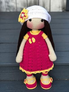 Amigurumi Doll. This beautiful and tender amigurumi doll is great for the stuffed doll lover, It is 16 Inches tall, its made with cotton yarn, has a beanie with a flower, dress and shoes. Important: This Item is made to Order. Please allow me 6-8 Business day for your Item to be made.