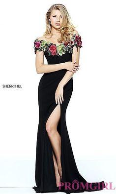 Off the Shoulder Embroidered Black Prom Dress at PromGirl.com