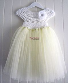 Ivory Tulle Dress, Crochet Tulle Dress, Girl Dress for Wedding, Baby Wedding Gown, Baby Baptism, Child Wedding, Child Bridesmaid Dress by MyGiulietta on Etsy