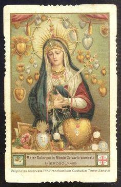 MATER DOLOROSA VIRGIN FROM JERUSALEM  OLD HOLY CARD